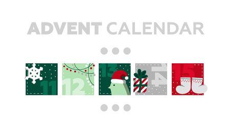 Vector Illustration Advent Calendar. Christmas Poster. Merry Holidays Stock Photo