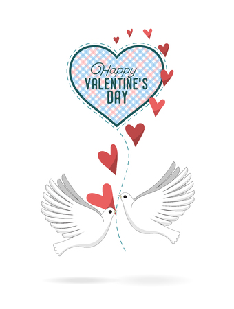 A Pair of Pigeons Keep a Checkered Heart In Their Beaks. Vector Illustrration For Valentines Day. Isolated