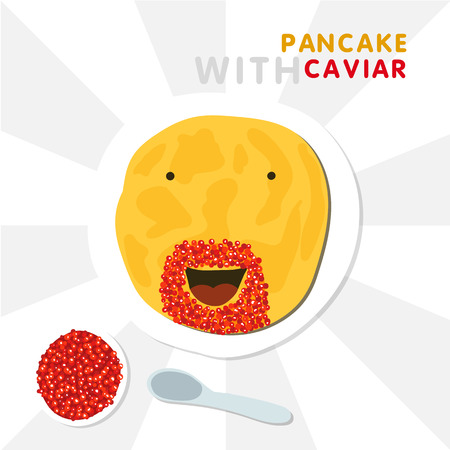 Smiling Pancake With Beard Made By Red Caviar. Vector Illustration For Shrovetide. Illustration