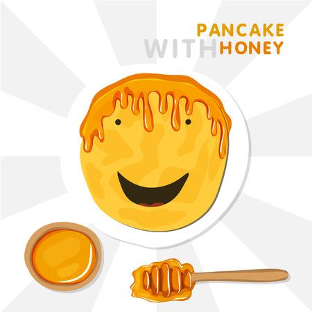 Smiling Pancake With Wig Made By Honey. Vector Illustration For Shrovetide. Illustration