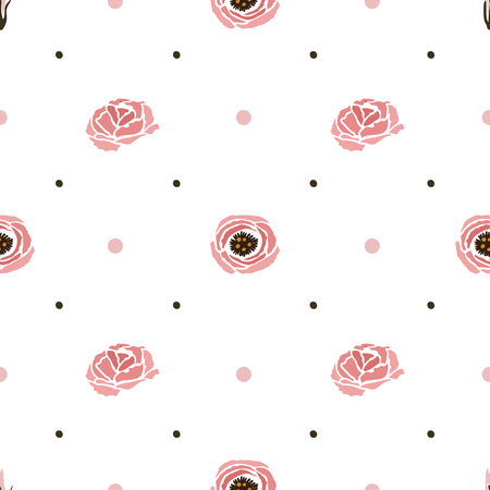 Vector seamless pattern with an eustoma flower illustration.