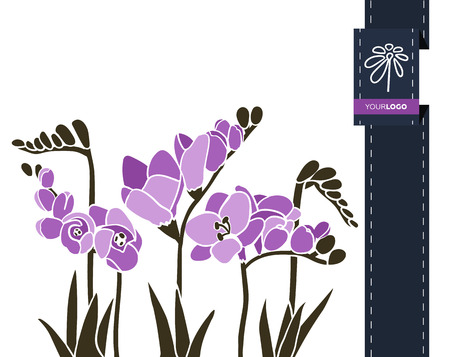 Vector flower greeting banner with freesia and ribbon. International Womens Day. Flat style. Vectores
