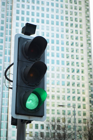 red traffic light: Green, Yellow and Red Traffic Light in the London city