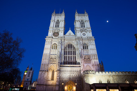 Westminster Abbey at night, London, England, UK. Stock Photo