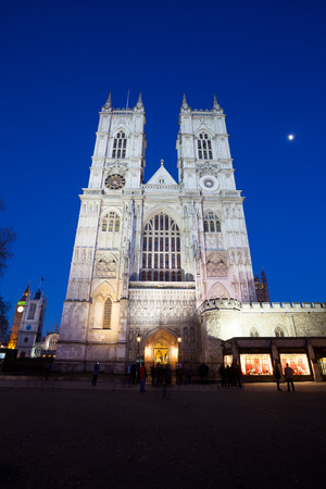 Westminster Abbey at night, London, England, UK. Editorial