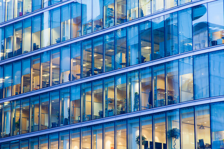 Windows of Skyscraper Business Office, Corporate building in London City, England, UK