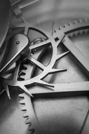 Close up Industry Gear Machine Cog Background, business cooperation, teamwork and time concept photo
