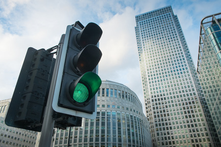 green light: Green, Yellow and Red Traffic Light in the London city