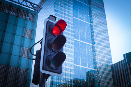 GREEN BUILDINGS: Green, Yellow and Red Traffic Light in the London city