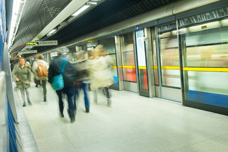 tube station: London Train Tube station Blur people movement in rush hour, at King