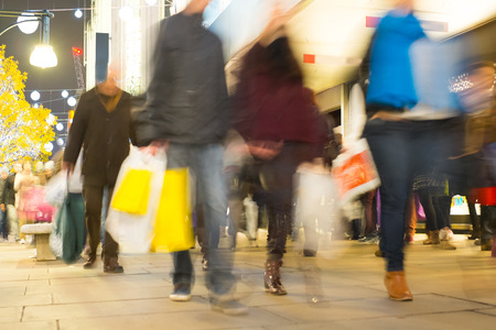 city people: Blur movement of city people worker, shopping in London, England, UK Stock Photo