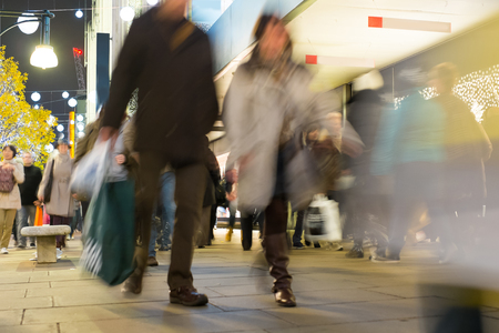 busy street: Blur movement of city people worker, shopping in London, England, UK Stock Photo