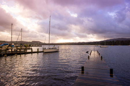 lake district england: Jetty in Lake District national park, England, UK Stock Photo