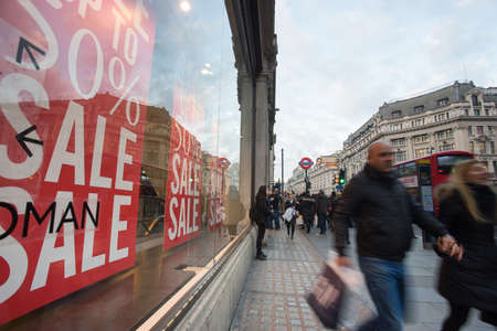 LONDON, ENGLAND, Oxford street on sale season after Christmas. Editorial