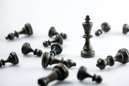 strong strategy: Chess figure, business concept strategy, leadership, team and success