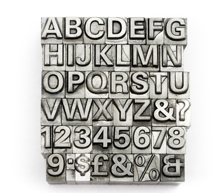 rusty metal: Letterpress - block letter English alphabet and number