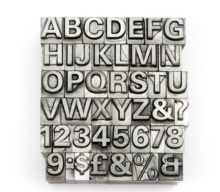 cartas antiguas: Letterpress - letra de molde del alfabeto Ingl�s y n�mero