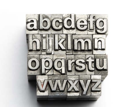 letterpress blocks: Letterpress - block letter English alphabet and number