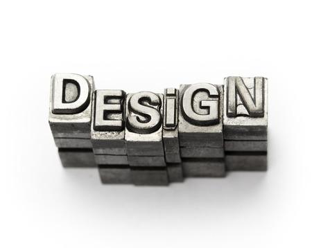 typesetter: Design word, letterpress block letter Stock Photo
