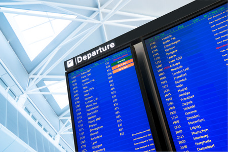 arrival departure board: Flight information, arrival and departure board at the airport