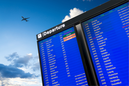 flight: Flight information, arrival and departure board at the airport