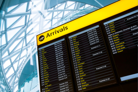 departures board: Check in, Airport Departure & Arrival information board sign