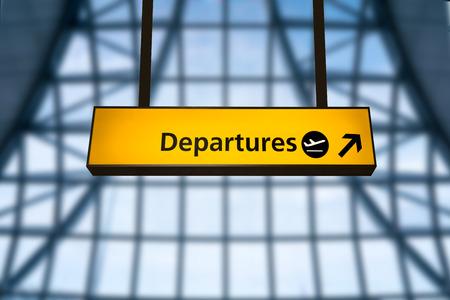 Inchecken, luchthaven vertrek & aankomst informatiebord bord