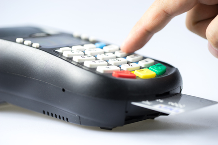 chip and pin: Credit & debit card password payment Stock Photo