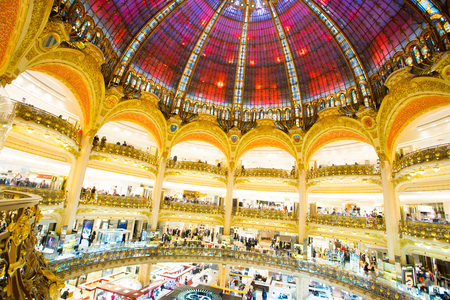 lafayette: PARIS, FRANCE JANUARY 15, 2015: Galleries Lafayette Haussmann in Paris, France -14000 sq. meters. Editorial