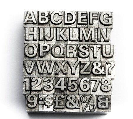 english alphabet: Letterpress - block letter English alphabet and number