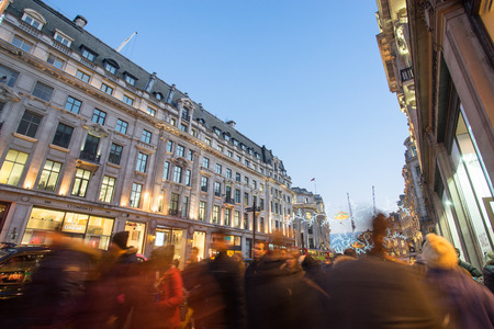 oxford street: LONDON, ENGLAND - DECEMBER 30, 2014: Oxford street on sale season after Christmas. This street is a major shopping street of London.