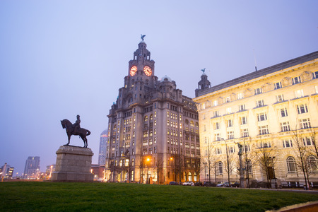 king edward: The King Edward VII Monument and the Liver Building, Liverpool, England Editorial