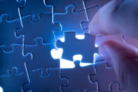 piezas de rompecabezas: El éxito del negocio Jigsaw Foto de archivo