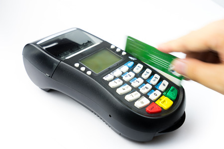 Credit card machine for payment and shopping Stock Photo