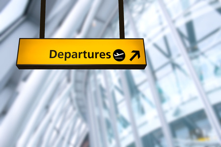 airport: Check in, Airport Departure & Arrival information board sign
