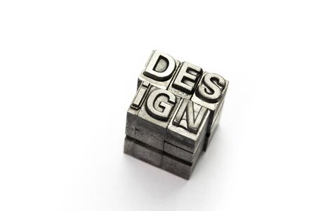 Design word, letterpress block letter Stock Photo