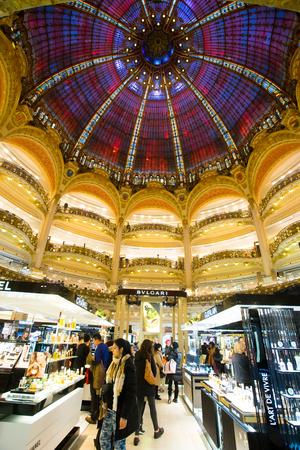 lafayette: PARIS, FRANCE JANUARY 15, 2015: Galleries Lafayette Haussmann in Paris, France -14000 sq. meters. Editorial