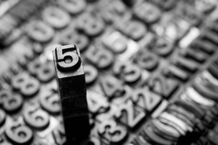 monotype: vintage letterpress  number background Stock Photo