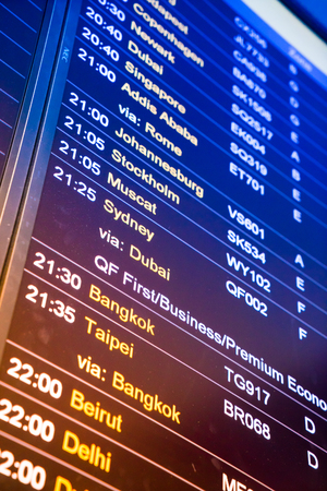 arrival departure board: Flight arrival and departure sign board in airport Editorial