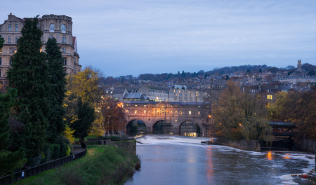 Pulteney Bridge, River Avon in Bath Spa city, England photo