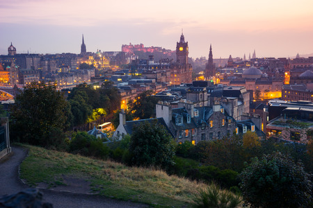 lothian: Edinburgh city from Calton Hill at night, Scotland, UK