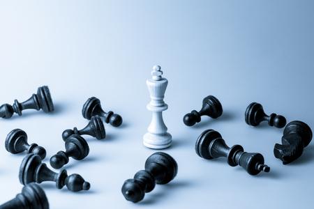 チェス図、ビジネス コンセプト戦略、リーダーシップ、チームおよび成功