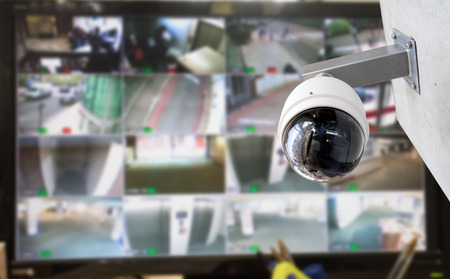 cctv security: CCTV security camera monitor in office building Stock Photo
