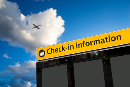 airport: Check in, Airport Departure & Arrival information sign