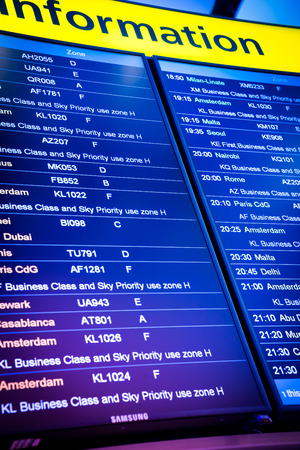 arrival departure board: Flight arrival and departure sign board in airport Stock Photo