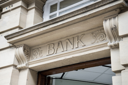 Bank Sign , Stone Background Standard-Bild