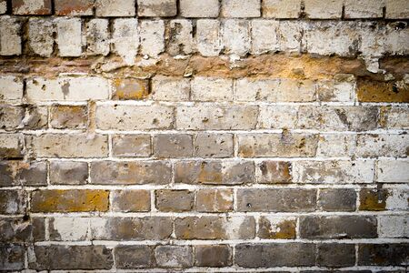 disruption: dirty brick wall, grungy red, white & grey texture background Stock Photo