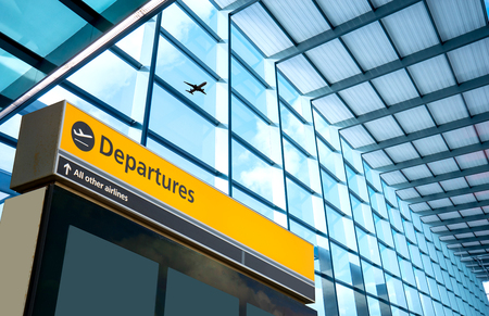 Airport Departure and Arrival sign at Heathrow, London Stock Photo