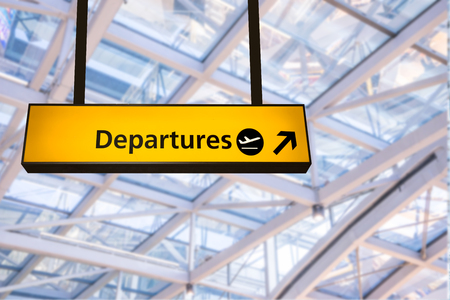 departure board: Flight, arrival and departure  board at the airport Stock Photo