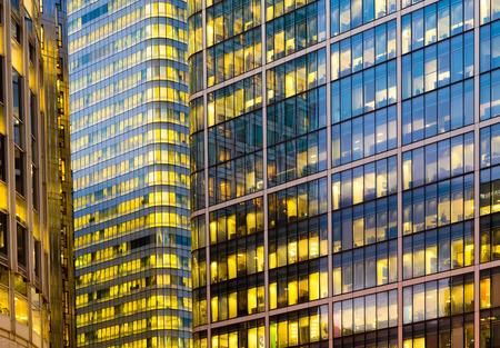 business centre: Office building background in Canary Wharf, London Stock Photo